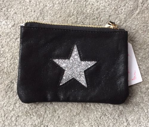 Faux Suede Star Purse/Make Up Bag - Black